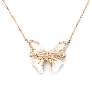 De Buman 18K Rose Goldplated or 18K Yellow Goldplated & Mother-of-Pearl Butterfly Necklace