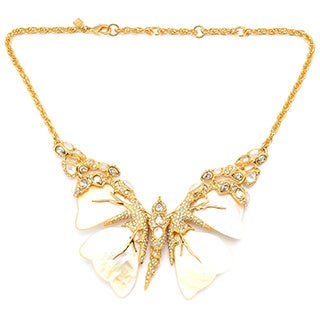 De Buman 18K Yellow Goldplated & Mother-of-Pearl Butterfly Necklace