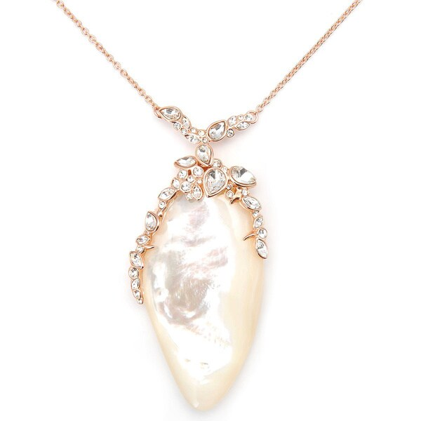 De Buman 18k Yellow Gold Plated or 18k Rose Gold Plated Mother of Pearl Necklace 15121319