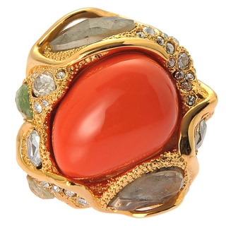 De Buman 18K Yellow Goldplated Red Coral & Crystal Ring