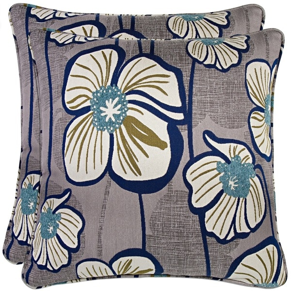 Better Living Grey and Turquoise Floral 20-inch Decorative Feather Down Accent Pillow (Set of 2)