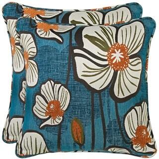 Portfolio Blue and Orange Floral 20-inch Decorative Accent Pillow (Set of 2)