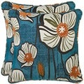 Better Living Blue and Orange Floral 20-inch Decorative Feather Down Accent Pillow (Set of 2)