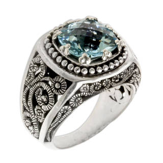 Sterling Silver 'Blue Desert Illusion' Blue Topaz Ring (Indonesia)