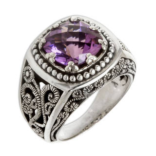 Sterling Silver 'Purple Desert Illusion' Amethyst Ring (Indonesia)
