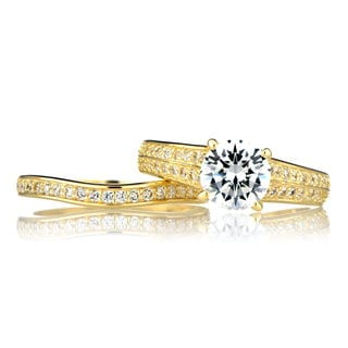 Sterling Silver Pave Cubic Zirconia Wedding Ring Set