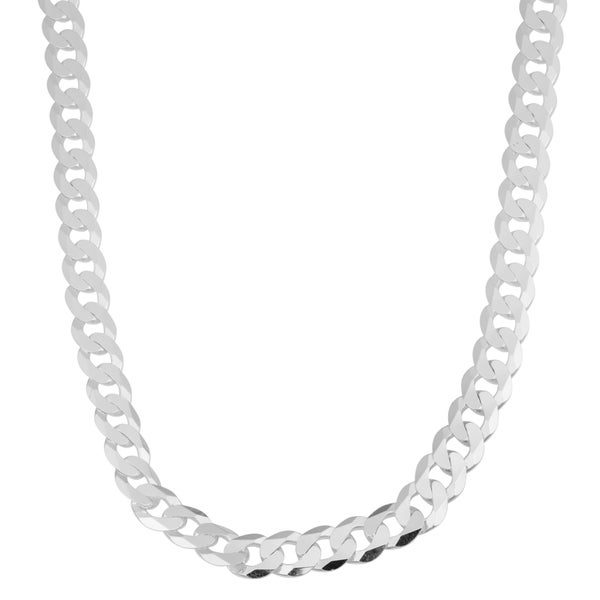 Argento Italia Sterling Silver 7.6-mm High Polish Curb Link Men's Necklace (20 inch)