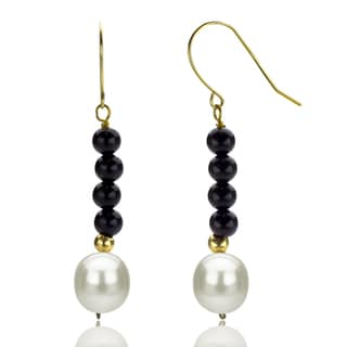 DaVonna 14k Yellow Gold Black Onyx and White Cultured Pearl Dangle Earring