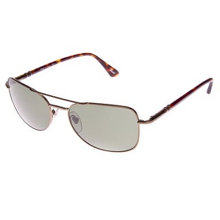 Persol Bronze-colored Aviators with Impact Resistant Lenses, Tarnished Bronze and Green Tinted