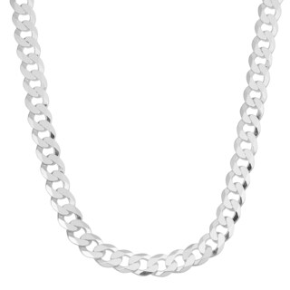 Fremada Sterling Silver 6.8-mm High Polished Curb Link Chain Necklace (20 inch)
