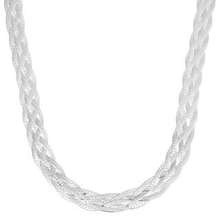 Fremada Sterling Silver 7.5-mm High Polished Braided Herringbone Necklace (18 inch)