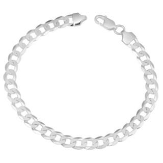Fremada Sterling Silver 6.8-mm High Polish Curb Link Men's Bracelet (8.5 inches)