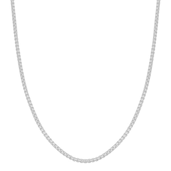 Fremada Sterling Silver 1.3-mm High Polished Round Box Link Chain Necklace (18 inch)
