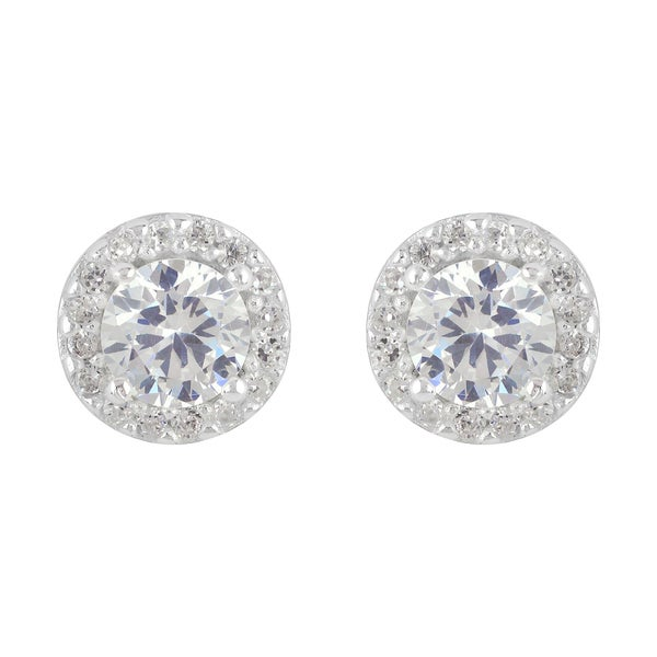Sunstone Sterling Silver Cubic Zirconia Round Earrings in Gift Box