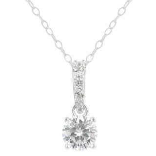 Sunstone Sterling Silver Round Cubic Zirconia Solitaire Necklace with Gift Box