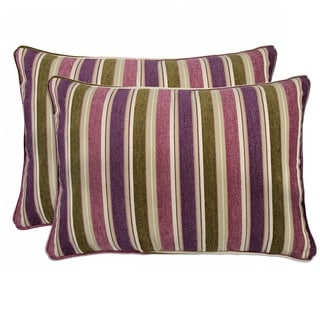 Better Living Purple and Green Stripe 24-inch Decorative Accent Kidney Pillow (Set of 2)