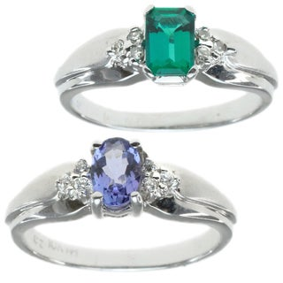 M.V. Jewels 10k White Gold Diamond Ring with Choice of Tanzanite or Emerald Centre Stone