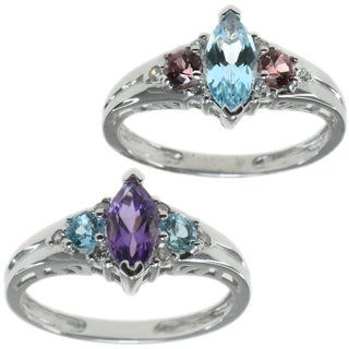 M.V. Jewels 14k White Gold Ring Choice of Amethyst and Rhodolite or Aquamarine and Blue Topaz