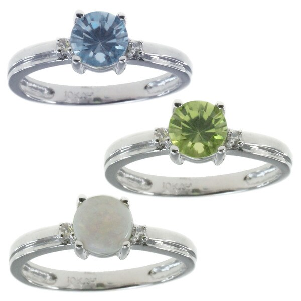 Michael Valitutti 10k White Gold with Choice of Centre Stone Ring