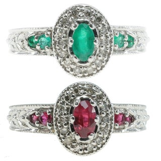 Michael Valitutti 10k White Gold with Tsavorite or Ruby and Diamonds Ring
