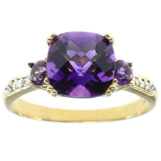 Michael Valitutti 14k Yellow Gold with Amethyst and Diamond Ring
