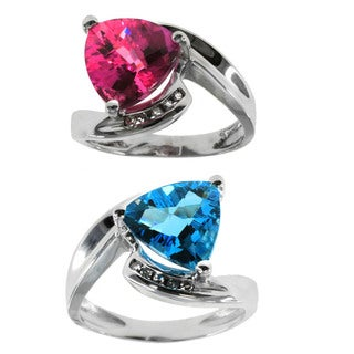 Michael Valitutti 10k White Gold Ring with Choice of Pink Sapphire or Blue Topaz