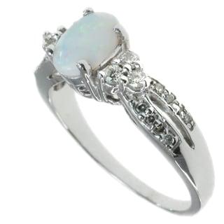 Michael Valitutti 14k White Gold Opal Ring