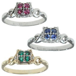 Michael Valitutti 14k Yellow/White Gold Ring Choice of Emerald, Blue Sapphire or Pink Sapphire with Diamonds