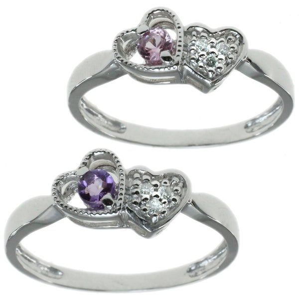 Michael Valitutti 14k White Gold Heart Ring Choice of Pink Sapphire or Amethyst with Diamonds