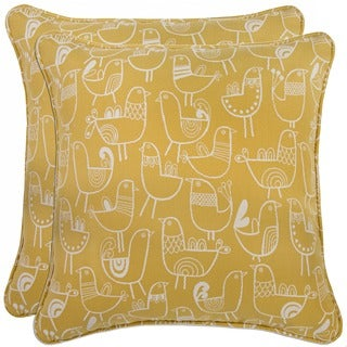 Better Living Modern Bird Yellow and Cream 20-inch Decorative Feather Down Accent Pillow (Set of 2)