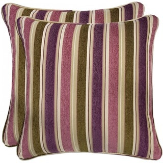 Portfolio Purple and Green Stripe 20-inch Decorative Accent Pillow (Set of 2)
