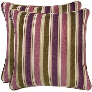 Better Living Purple and Green Stripe 20-inch Decorative Feather Down Accent Pillow (Set of 2)