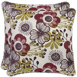 Better Living Red Floral 20-inch Decorative Feather Down Accent Pillow (Set of 2)