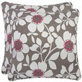 Better Living Grey Floral 20-inch Decorative Feather Down Accent Pillow (Set of 2)