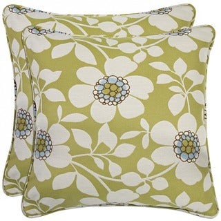 Portfolio Green Floral 20-inch Decorative Accent Pillow (Set of 2)