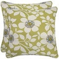 Better Living Green Floral 20-inch Decorative Feather Down Accent Pillow (Set of 2)
