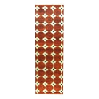 Herat Oriental Indo Hand-knotted Tribal Tibetan Rust/ Beige Wool Rug (2'5 x 8')