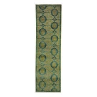 Herat Oriental Indo Hand-knotted Tribal Tibetan Beige/ Teal Wool Rug (2'4 x 8')