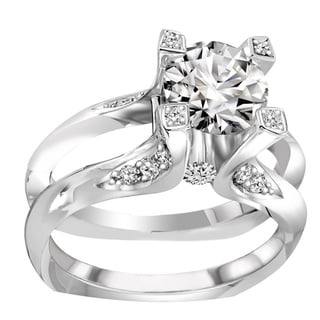 Claude Thibaudeau 18k White Gold 1/2ct TDW Diamond Semi Mount Engagement Set (G-H, VS1-VS2)
