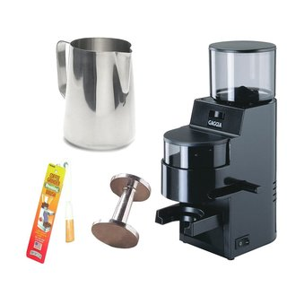 Gaggia 8002 MDF Burr Grinder with Doser (Black) + Stainless Steel 18/8 Gauge 20-Ounce Frothing Pitcher + Accessory Kit