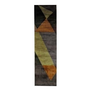 Herat Oriental Indo Hand-knotted Tribal Tibetan Purple/ Brown Wool Rug (2'2 x 8')
