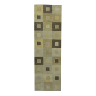Herat Oriental Indo Hand-knotted Tribal Tibetan Ivory/ Brown Wool Rug (2'5 x 7'10)