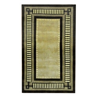 Herat Oriental Indo Hand-knotted Tribal Tibetan Beige/ Brown Wool Rug (3'6 x 5'10)