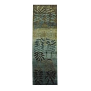 Herat Oriental Indo Hand-knotted Tribal Tibetan Light Blue/ Beige Wool Rug (2'7 x 7'10)
