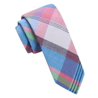 Skinny Tie Madness Men's Pink Plaid Skinny tie