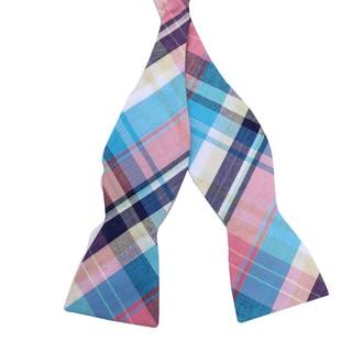 Skinny Bow Tie Madness Men's Madras Style Plaid Bow Tie