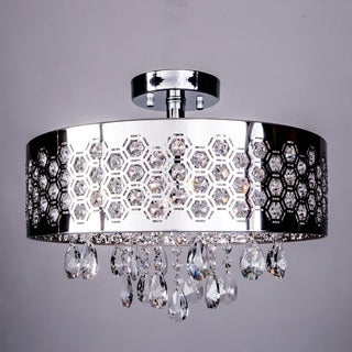 4 Light Shaded Chrome Semi Flush Mount with Clear European Crystals