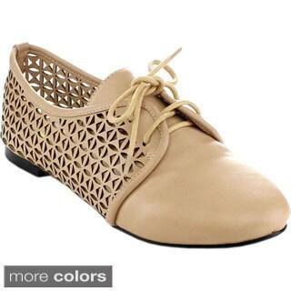 MACHI JAYNA Women Classic Lace Up Dress Low Flat Heel Oxford