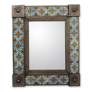 Tin Ceramic 'Talavera Marigold' Wall Mirror (Medium) (Mexico)
