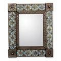Tin Ceramic 'Talavera Marigold' Wall Mirror (Medium) (Mexico)